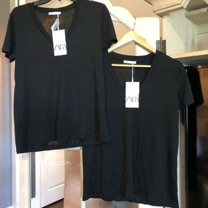 TWO of them! Black V-Neck T-shirt Top